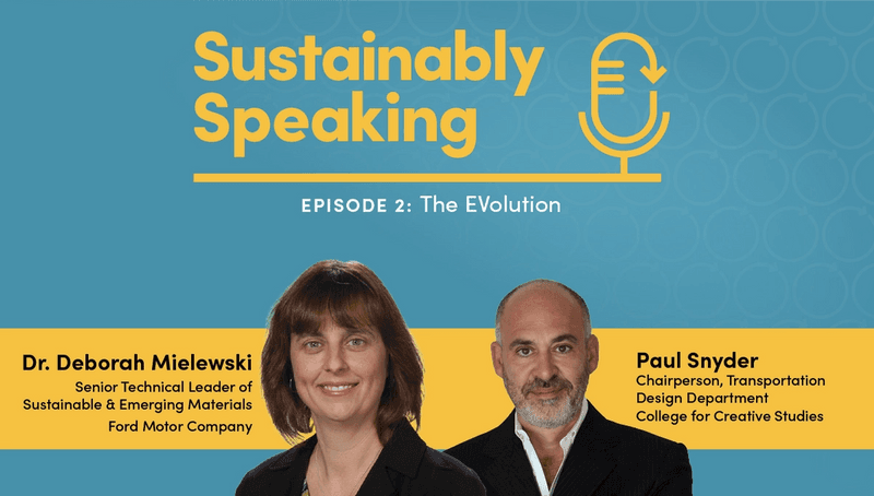Head shots of Deborah Mielewski and Paul Synder with their titles and Sustainably Speaking logo