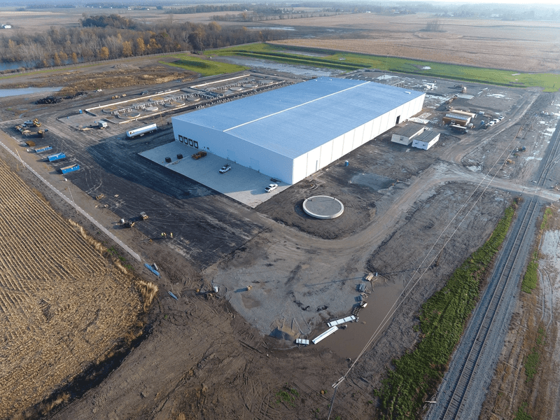 Aerial photo of Brightmark facility in Ashley, Indiana