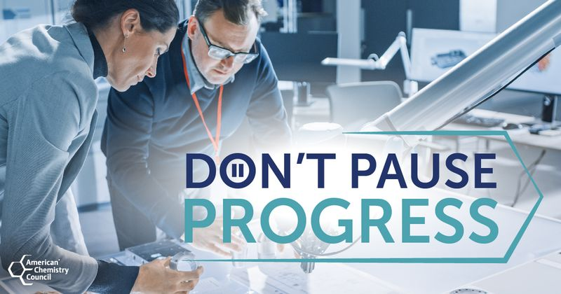 Don't Pause Progress Title Screen with Woman and Man working at a table