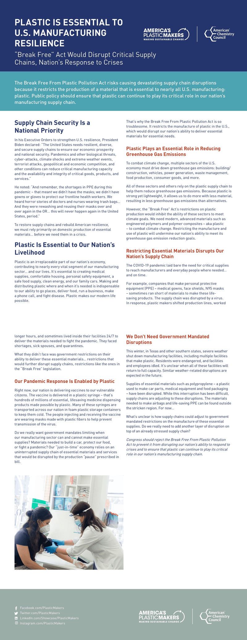 """Fact Sheet on How """"Break Free"""" Act Would Hurt American Manufacturing"""