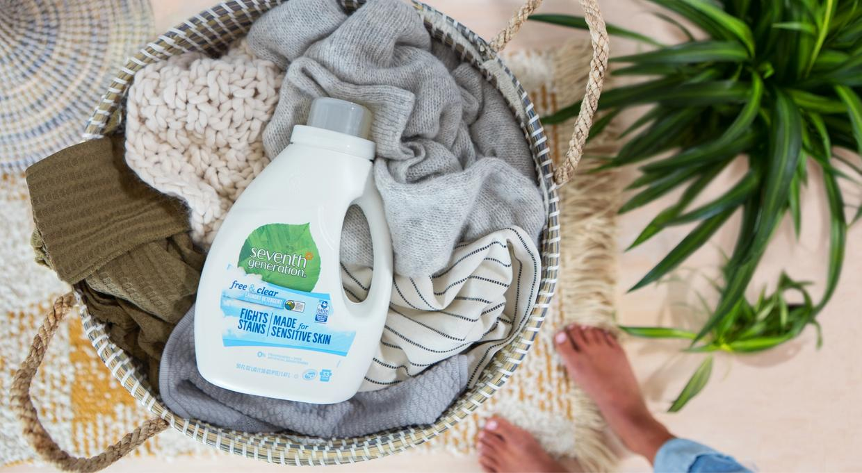 Recycled plastic Seventh Generation detergent bottle