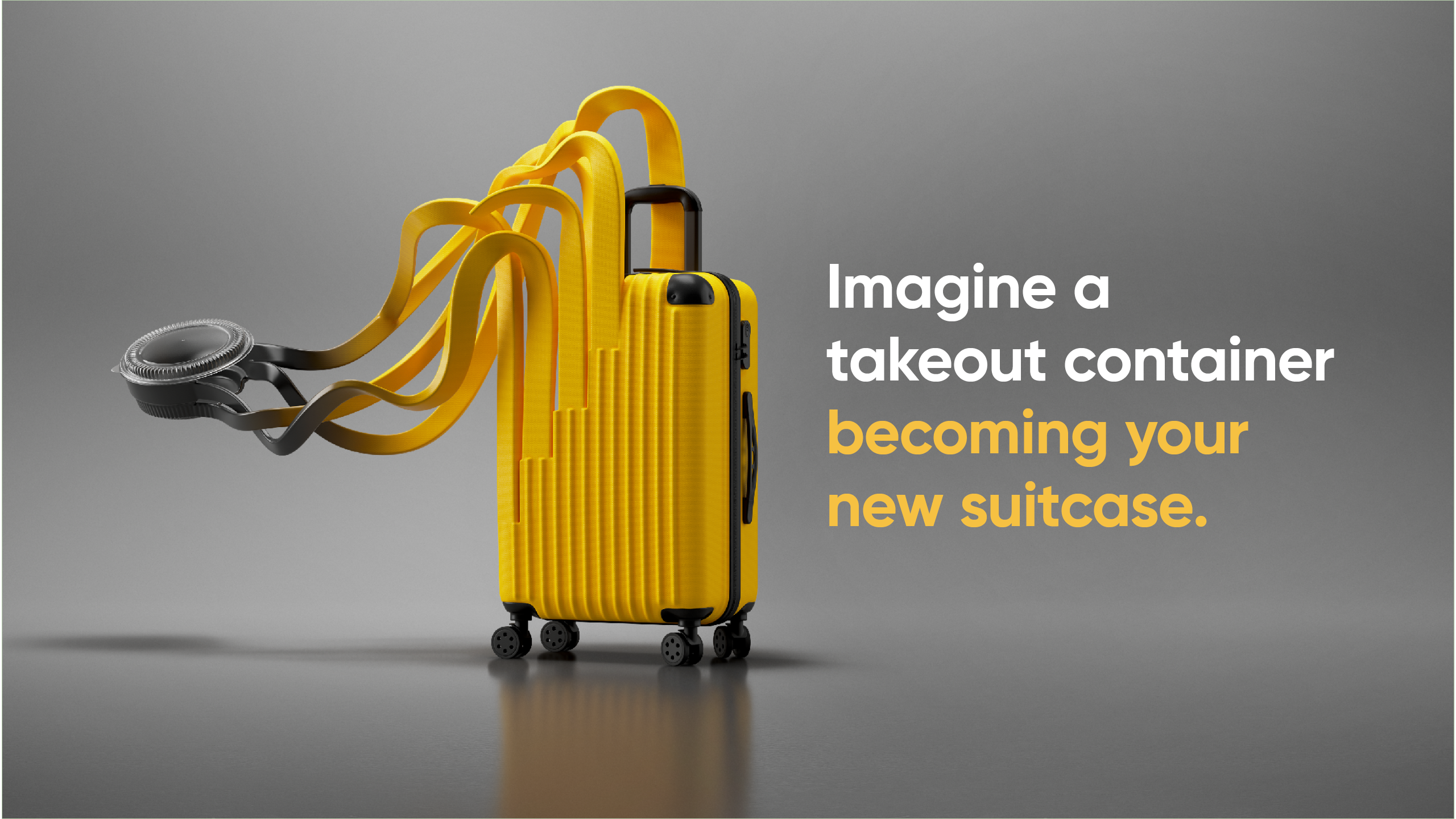 imagine a takeout container becoming your new suitcase.
