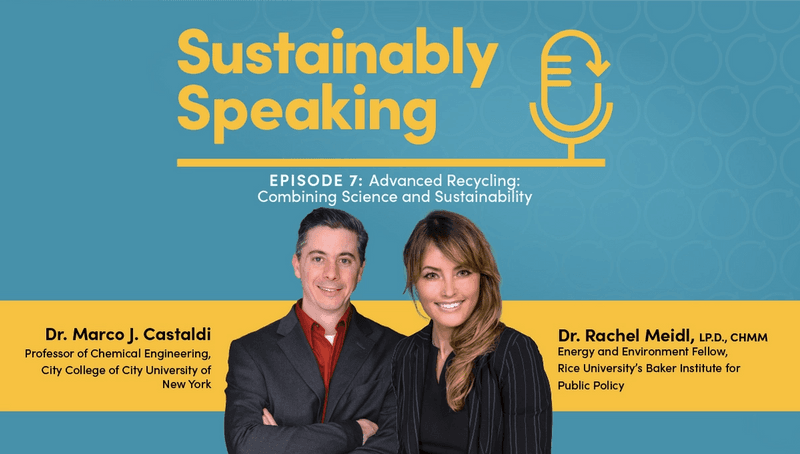 Headshots of Dr. Castaldi and Dr. Meidl with Sustainably Speaking logo