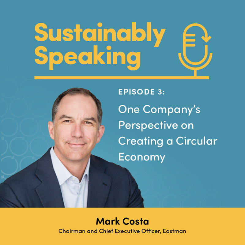 Head shot of Mark Costa, CEO of Eastman Chemical with APM logo and episode title